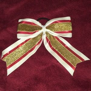Other - White, gold, red bow ponytail.